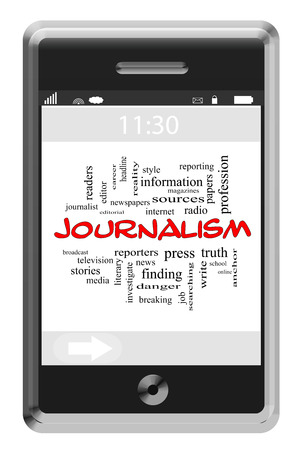 Journalsim Word Cloud Concept of Touchscreen Phone with great terms such as press, reporter, media and more. 版權商用圖片