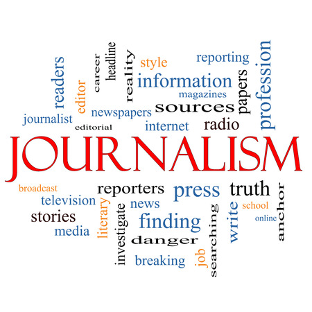 Journalsim Word Cloud Concept with great terms such as reporters, press, media and more. photo