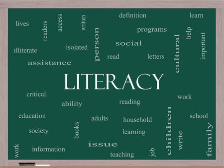 Literacy Word Cloud Concept on a Blackboard with great terms such as read, write, education and more. 版權商用圖片
