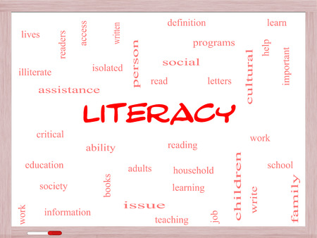 literacy: Literacy Word Cloud Concept on a Whiteboard with great terms such as read, write, education and more. Stock Photo