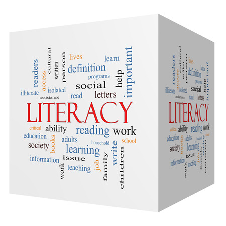 illiterate: Literacy 3D cube Word Cloud Concept with great terms such as read, write, education and more.