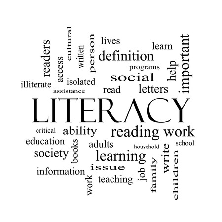 illiterate: Literacy Word Cloud Concept in black and white with great terms such as read, write, education and more.