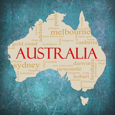 A map of Australia on a blue grunge background with different Australian terms around it such as Melbourne, Canberra, kangaroo, aborigines, Darwin and a lot more. photo
