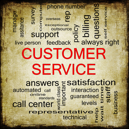 Customer Service Grunge Word Cloud Concept with great terms such as call center, help, staff, rep and more. photo