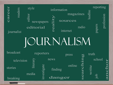 Journalsim Word Cloud Concept on a Blackboard with great terms such as reporters, press, media and more.