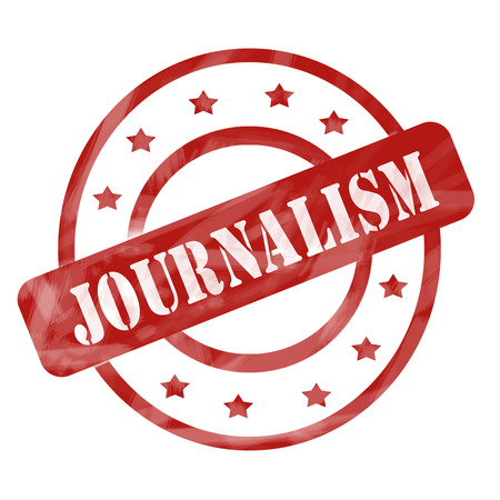 A red ink weathered roughed up circles and stars stamp design with the word JOURNALISM on it making a great concept.