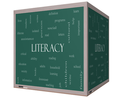 illiterate: Literacy Word Cloud Concept on a 3D cube Blackboard with great terms such as read, write, education and more.
