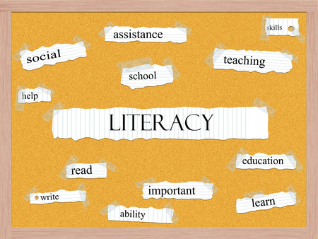 Literacy Corkboard Word Concept with great terms such as read, write, skills and more. Stock Photo