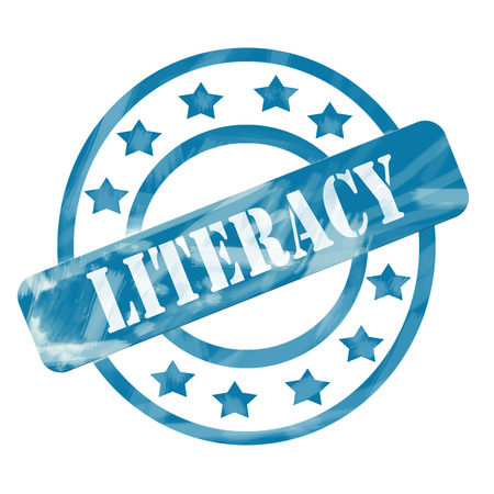 literacy: A blue ink weathered roughed up circles and stars stamp design with the word LITERACY on it making a great concept. Stock Photo