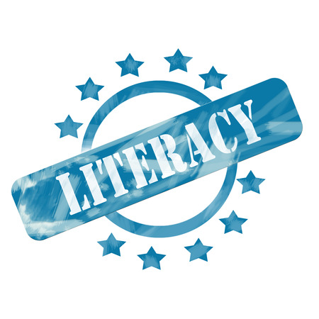 A blue ink weathered roughed up circle and stars stamp design with the word LITERACY on it making a great concept.