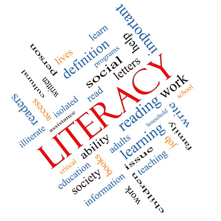 Literacy Word Cloud Concept angled with great terms such as read, write, education and more.