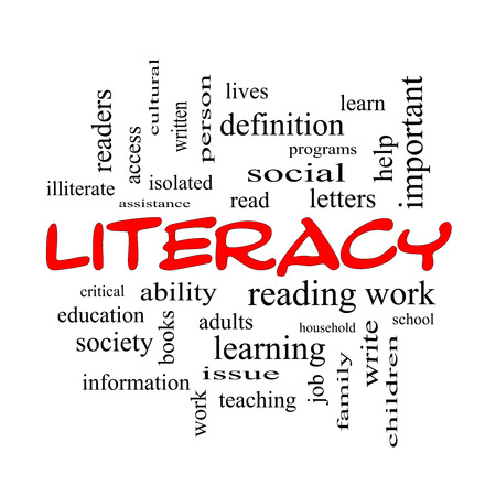 illiterate: Literacy Word Cloud Concept in red caps with great terms such as read, write, education and more.