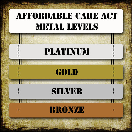 Grunge ACA or Affordable Care Act Metal Levels on signs including Platinum, Gold, Silver, and Bronze along with dollars signs for each level. photo