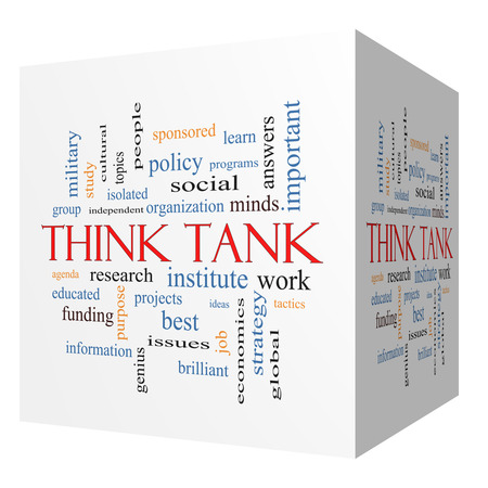 institute: Think Tank 3D cube Word Cloud Concept with great terms such as research, institute, ideas and more.