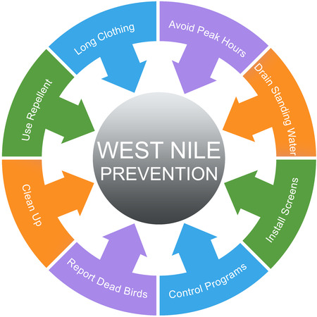 nile: West Nile Prevention Word Circles Concept with great terms such as repellent, screens, water and more.