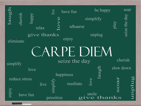 Carpe Diem Word Cloud Concept on a Blackboard with great terms such as love, seize, the day and more.