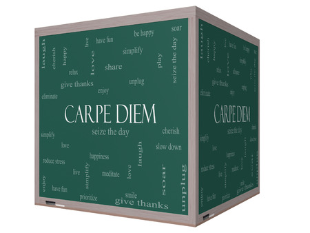 Carpe Diem Word Cloud Concept on a 3D cube Blackboard with great terms such as love, seize, the day and more.