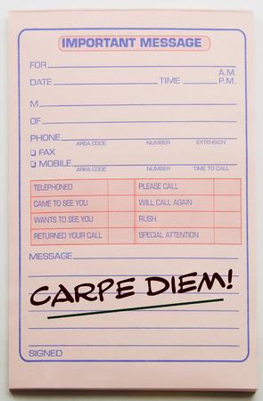 carpe diem: Carpe Diem written on a pink important message pad making a great concept.