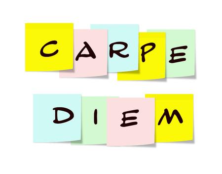 carpe diem: Carpe Diem written on colorful Sticky Notes making a great concept. Stock Photo