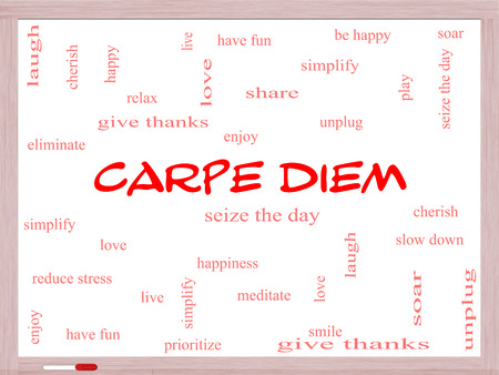 Carpe Diem Word Cloud Concept on a Whiteboard with great terms such as love, seize, the day and more.