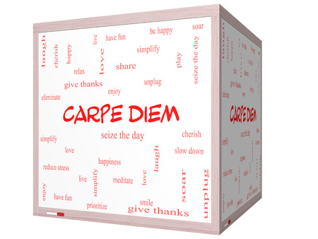 Carpe Diem Word Cloud Concept on a 3D cube Whiteboard with great terms such as love, seize, the day and more.