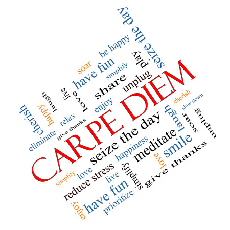 Carpe Diem Word Cloud Concept angled with great terms such as love, seize, the day and more. Stock Photo