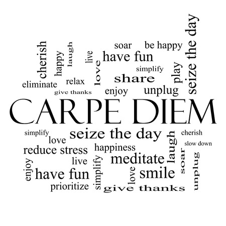 Carpe Diem Word Cloud Concept in black and white with great terms such as love, seize, the day and more.