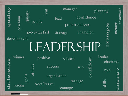 Leadership Word Cloud Concept on a Blackboard with great terms such as vision, positive, winner and more. photo