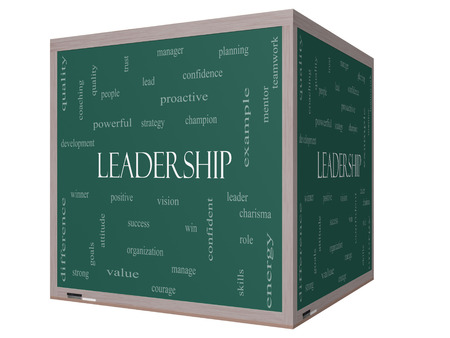Leadership Word Cloud Concept on a 3D cube Blackboard with great terms such as vision, positive, winner and more. photo