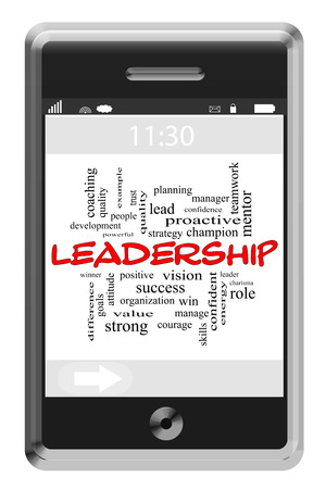 Leadership Word Cloud Concept of Touchscreen Phone with great terms such as win, positive, leader and more. photo
