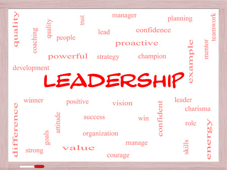 Leadership Word Cloud Concept on a Whiteboard with great terms such as vision, positive, winner and more. photo