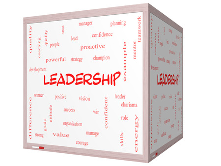 Leadership Word Cloud Concept on a 3D cube Whiteboard with great terms such as vision, positive, winner and more. photo