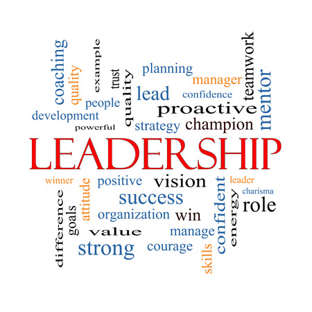 examples: Leadership Word Cloud Concept with great terms such as vision, positive, winner and more. Stock Photo