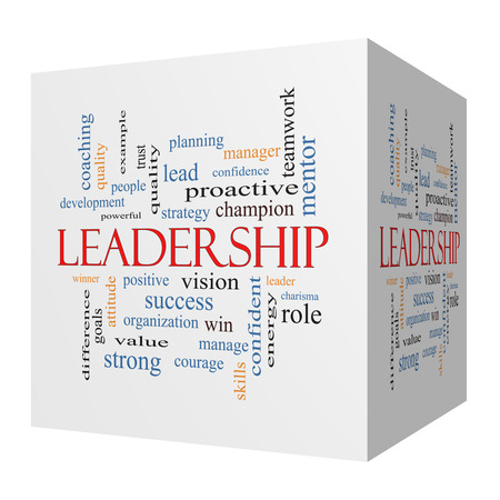 Leadership 3D cube Word Cloud Concept with great terms such as vision, positive, winner and more. photo