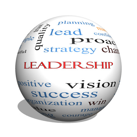 Leadership 3D sphere Word Cloud Concept with great terms such as vision, positive, winner and more. photo