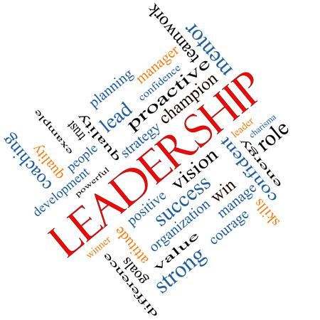 Leadership Word Cloud Concept angled with great terms such as vision, positive, winner and more. photo