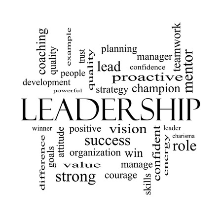 Leadership Word Cloud Concept in black and white with great terms such as vision, positive, winner and more. photo