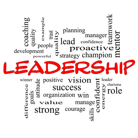 Leadership Word Cloud Concept in red caps with great terms such as vision, positive, winner and more. photo