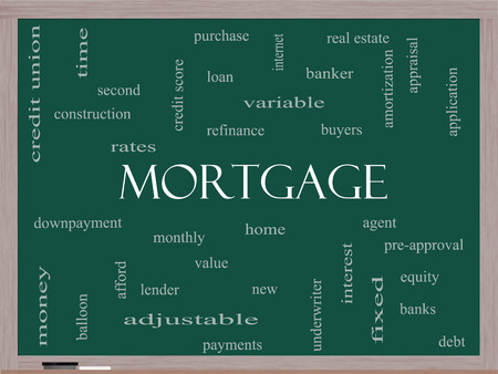 underwriter: Mortgage Word Cloud Concept on a Blackboard with great terms such as loan, home, banker and more. Stock Photo