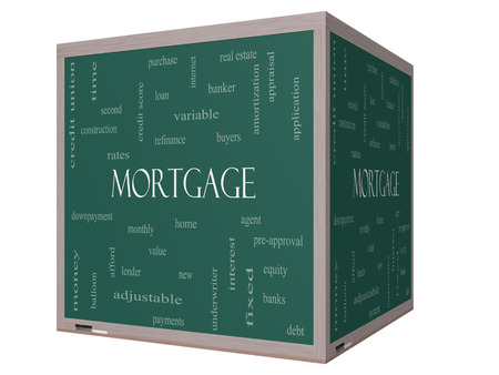 underwriter: Mortgage Word Cloud Concept on a 3D cube Blackboard with great terms such as loan, home, banker and more. Stock Photo