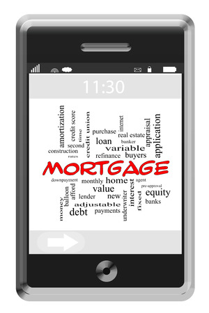 Mortgage Word Cloud Concept of Touchscreen Phone with great terms such as lender, bank, home and more.