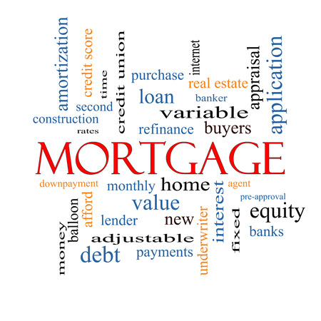 Mortgage Word Cloud Concept with great terms such as loan, home, banker and more. photo