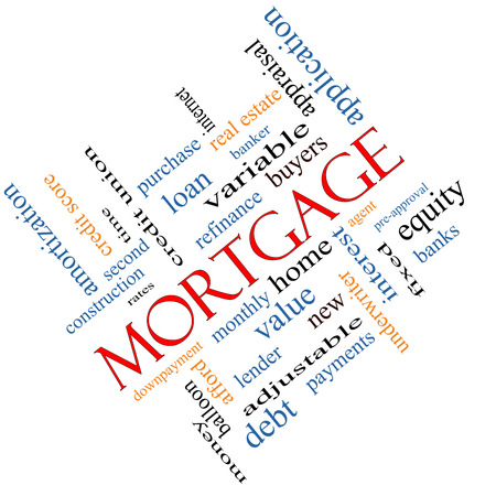 Mortgage Word Cloud Concept angled with great terms such as loan, home, banker and more.