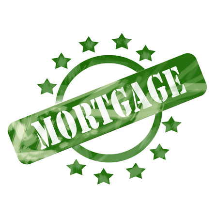 A green ink weathered roughed up circle and stars stamp design with the word MORTGAGE on it making a great concept.