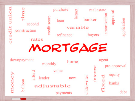 pre approval: Mortgage Word Cloud Concept on a Whiteboard with great terms such as loan, home, banker and more.