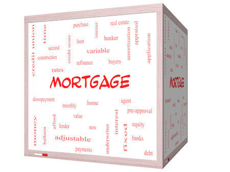 Mortgage Word Cloud Concept on a 3D cube Whiteboard with great terms such as loan, home, banker and more. photo