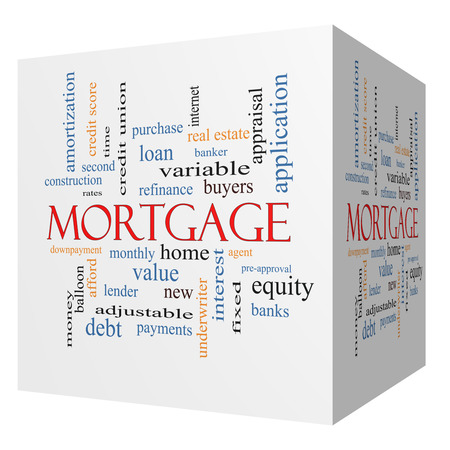 underwriter: Mortgage 3D cube Word Cloud Concept with great terms such as loan, home, banker and more. Stock Photo