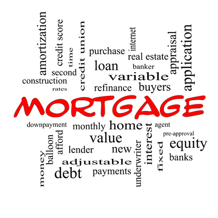 Mortgage Word Cloud Concept in red caps with great terms such as loan, home, banker and more. Stock Photo