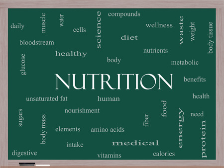 unsaturated: Nutrition Word Cloud Concept on a Blackboard with great terms such as human, body, diet and more. Stock Photo
