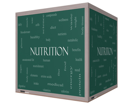 Nutrition Word Cloud Concept on a 3D cube Blackboard with great terms such as human, body, diet and more. photo